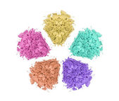 Crushed color eyeshadows isolated on white — Stok fotoğraf