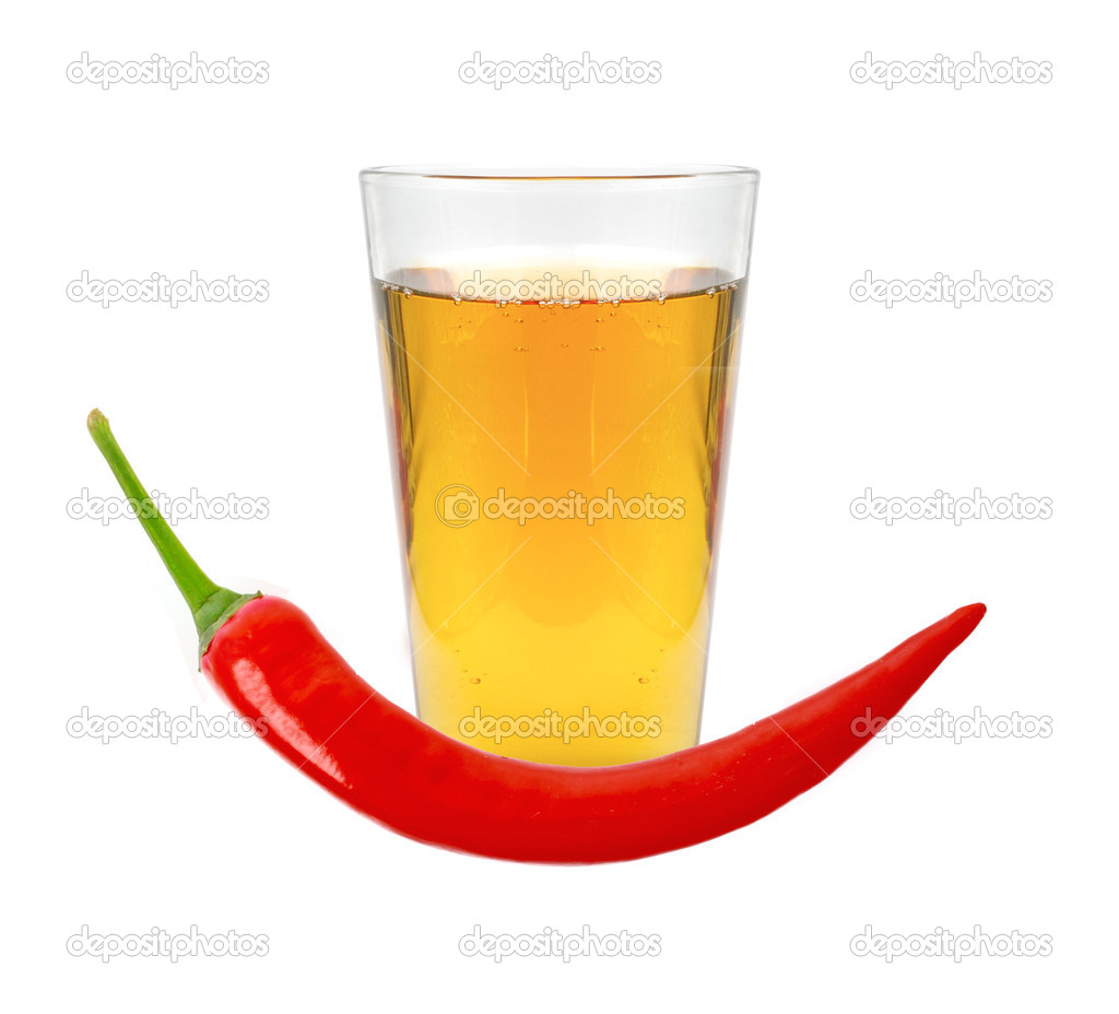 Glass of pepper vodka and red chili pepper isolated on white — Stock Photo #10391204