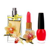 Women's perfume in beautiful bottle, red lipstick, nail polish a — Stock Photo