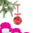 Christmas ball on the tree and gift boxes on white background — Stock Photo #7975221