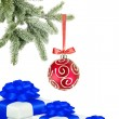 Christmas ball on the tree and gift boxes on white background — Stock Photo #7975256