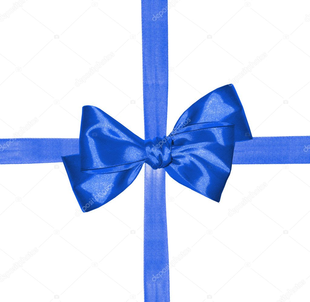 Blue ribbon and bow isolated on white background  Stock Photo #7975154