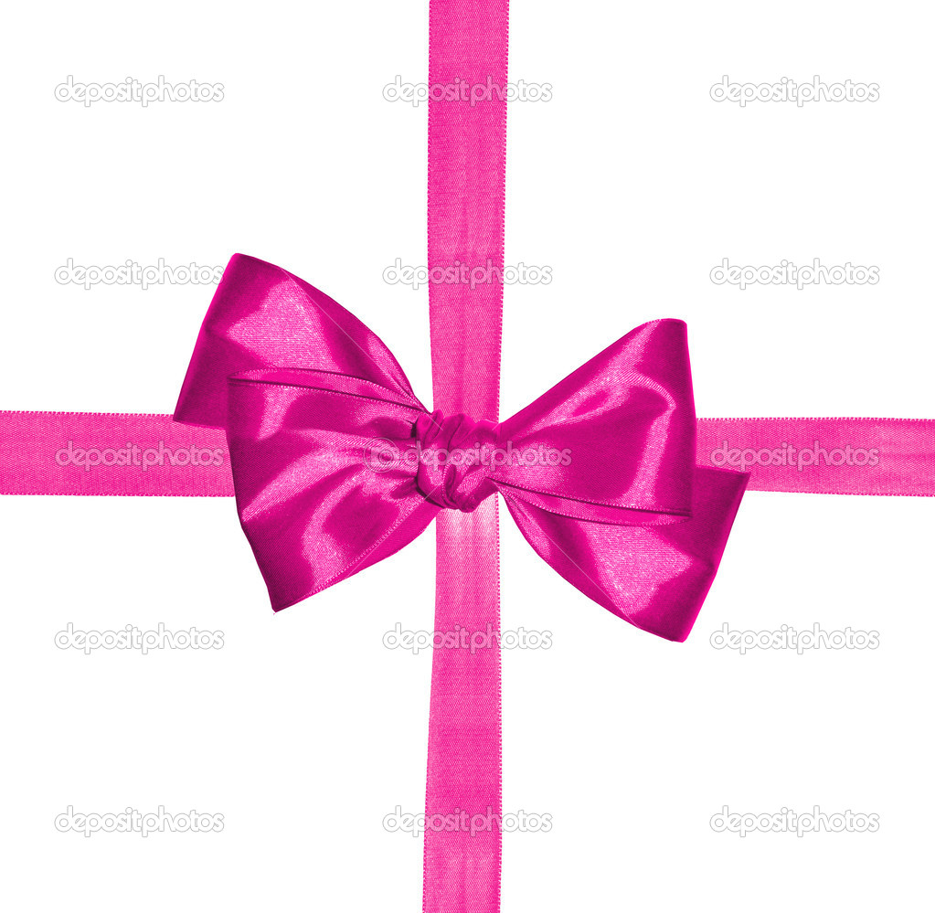 Pink ribbon and bow isolated on white background — Stock Photo #7975262