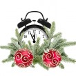 Green Christmas tree, decorative red balls and alarm clock isola — Stock Photo