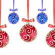 Red and Blue Christmas balls with bows on white background — Zdjęcie stockowe