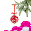 Stock Photo: Christmas ball on the tree and gift boxes on white background