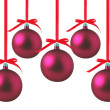 Red Christmas balls with bows on white background — Stok Fotoğraf #8024794