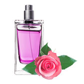 Women's perfume in beautiful bottle with pink rose isolated on w — Stock Photo