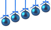 Blue Christmas balls with bows on white background — Stock Photo