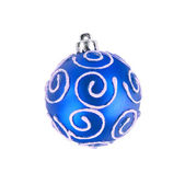 Blue christmas ball isolated on white background — Stock Photo