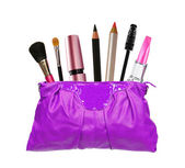 Beautiful violet makeup (cosmetics) bag and cosmetics isolated o — Stockfoto