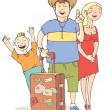 Stock Vector: Tourist's family