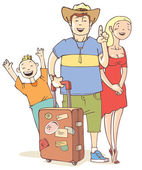 Tourist's family — Stock Vector