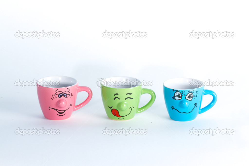 Smiling coffee mugs — Stock Photo #8482421