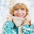 Royalty-Free Stock Photo: Winter portrait of a young cheerful happy women