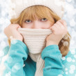 Royalty-Free Stock Photo: Winter portrait of a beautiful girl in a hat and scarf