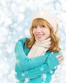 Christmas portrait einer schönen jungen glücklich frau — Stockfoto