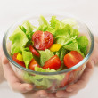 Cup of vegetable vegetarian salad — Stock Photo