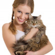 Pretty girl with a fluffy cat — Stock Photo #8478366