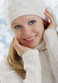 Beautiful happy young woman outdoors in winter — Stock Photo