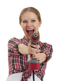 Cheerful girl with cordless drill — Stock Photo