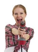 жизнерадостная девочка с дрель — Стоковое фото