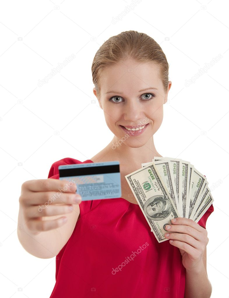 Beautiful young woman chooses between a credit card, cash money, American dollars isolated on a white background — Stock Photo #9487418