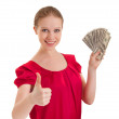 Beautiful successful young woman in a red blouse shows a thumb — Stock Photo