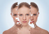 Concept of cosmetic effects, treatment and skin care. face of y — Stock Photo