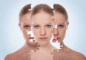 Concept van cosmetische effecten, behandeling en zorg van de huid. gezicht van y — Stockfoto
