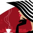 Stylish woman in a big hat at cafe — Stock Vector