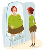 Lady terrified of her fat reflection — Stock Vector