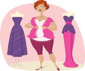 Full lady choosees dress — Stock Vector