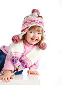 Beautiful girl in the hat on a white background — Stock Photo