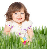 Beautiful girl holding Easter eggs — Stock Photo