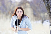 Beautiful girl in winter — Stock Photo