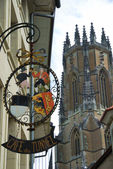 Gothic view of Fribourg with signboard. — Stock Photo