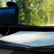 GPS and a road map on the front panel. - Stock Photo