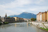 View of Grenoble with the wide river Isere. — Stock Photo