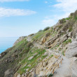Hiking trail on slope against the sky and sea. — Stock Photo