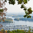 Stock Photo: Comfortable piers and green islands of Dniper in Kyiv.