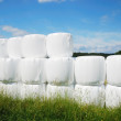 Agricultural stack with straw bales packaged — Stock Photo #10451801
