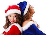Happy teenage santa clauses — Stock Photo