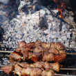 Roasted kebab above burning hot coals — Stock Photo
