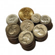 Accurate columns of metal coins — Stock Photo