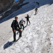 Hikers on the snowfield in summer. — Stock Photo