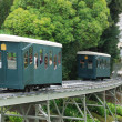 Stock Photo: Pau cog railway in summer park.