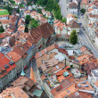 Stock Photo: Old city of Fribourg from above.