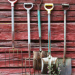 Stock Photo: Implements on planked wall