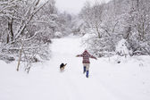 Running in the snow — Stock Photo